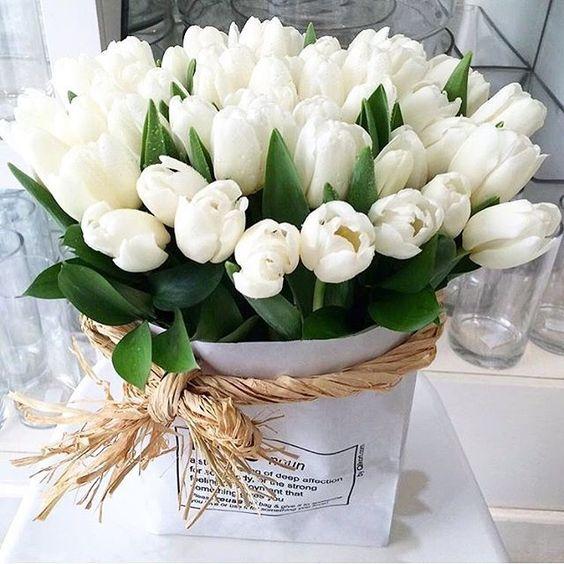 Dárková kytice bílých tulipánů k svátku.