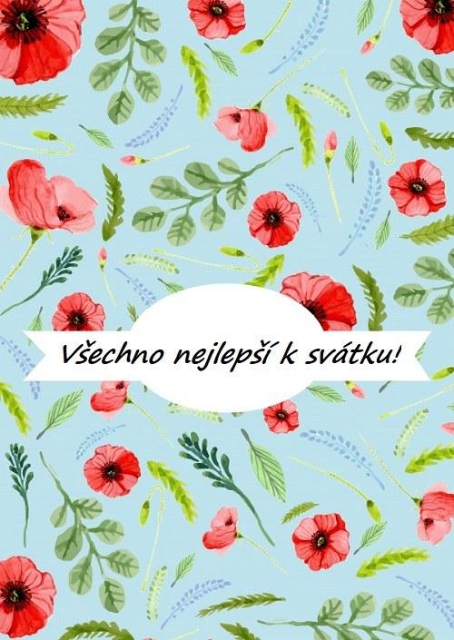 Kreslené blahopřání s květy máku a nápisem.