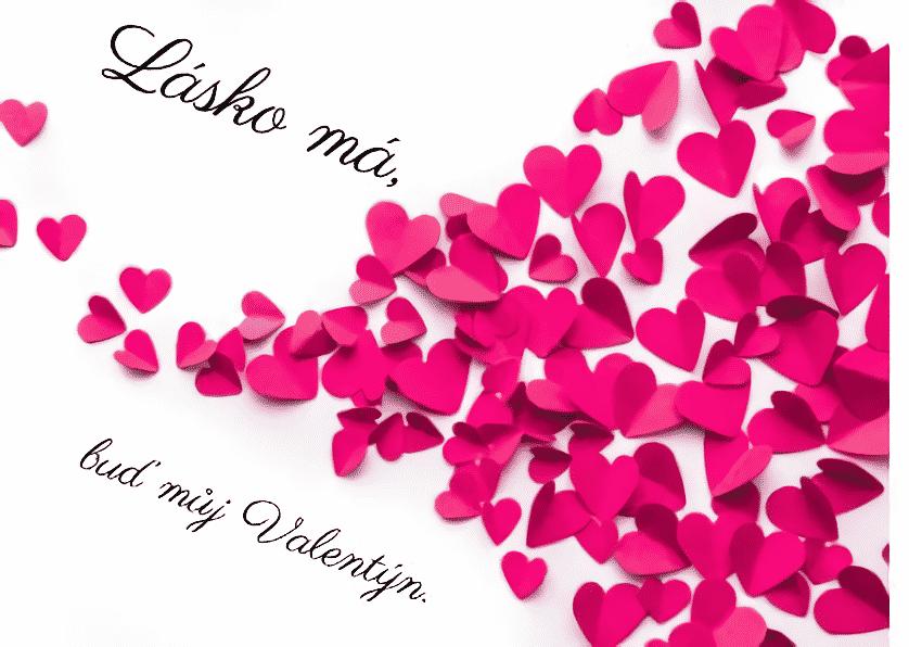 Valentýnský vzkaz se srdíčky.