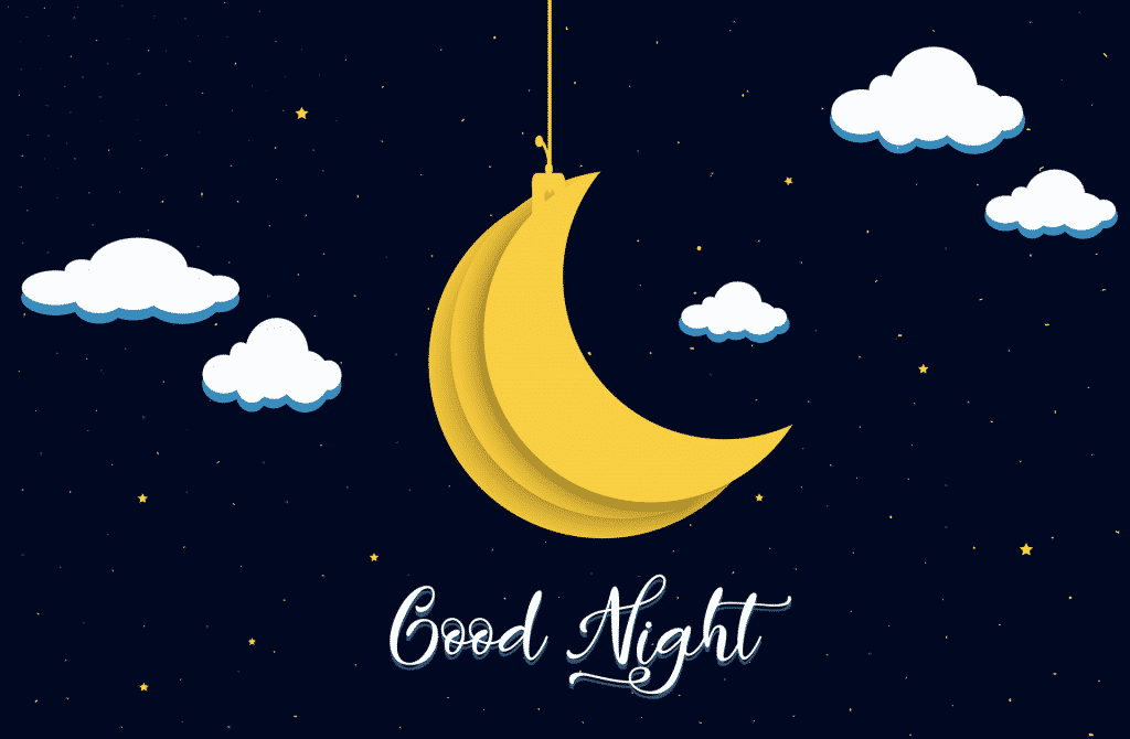Kreslené obrázkové přání na dobrou noc.