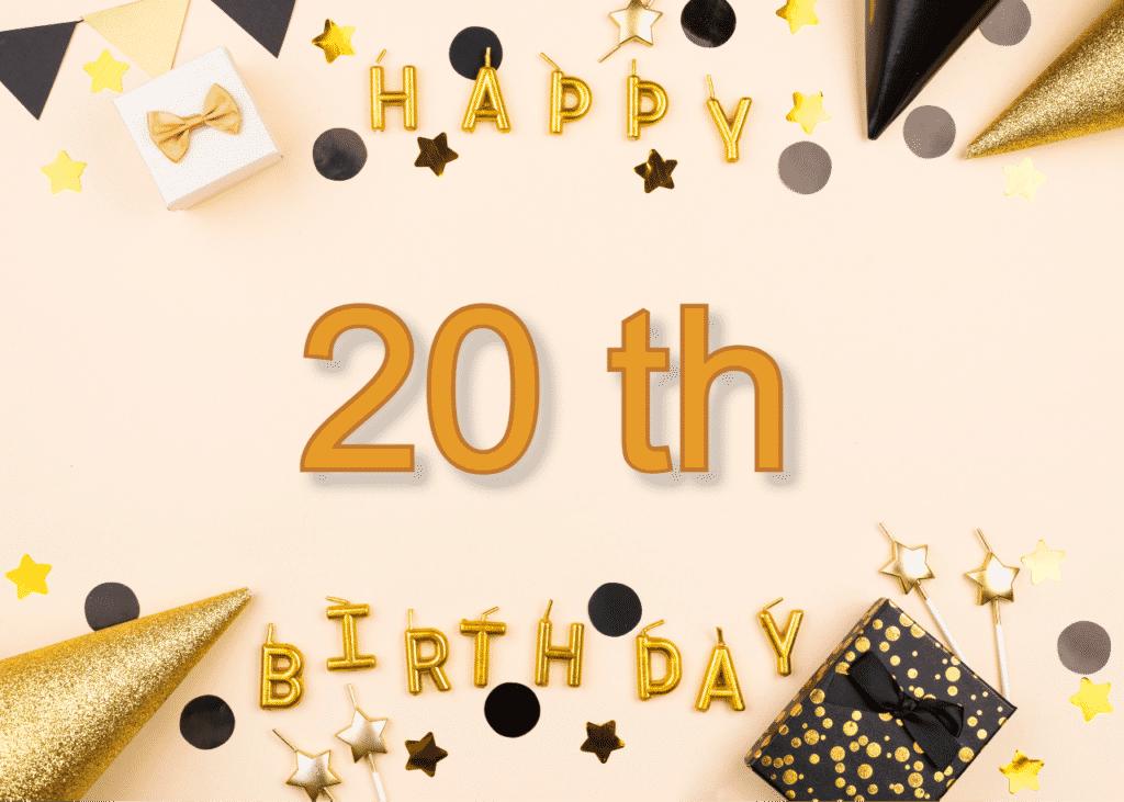 Anglické narozeninové přání k 20. narozeninám.