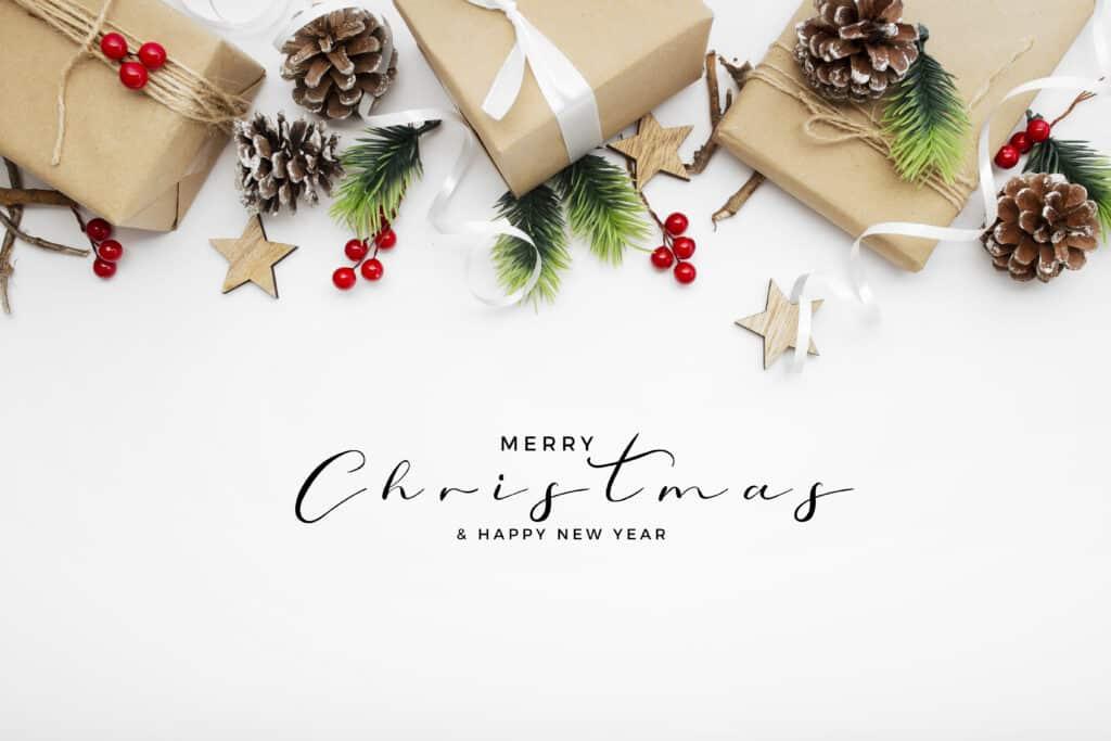 Vánoční a novoroční přáníčko s dárky.