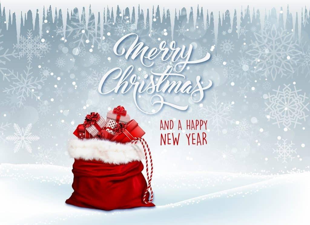 Pohlednice s textovým přáníčkem k novému roku a obrázky.