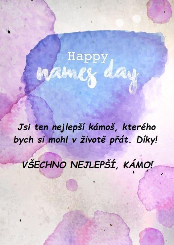 Přání k svátku pro muže s fialovými kaňkami a nápisem Happy names day.