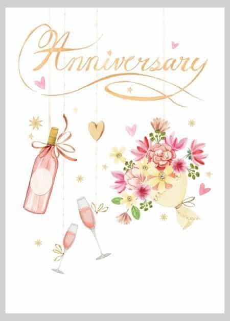 Malované blahopřání ke svatbě s šampaňským, sklenicemi a růžovou kyticí a s nápisem Anniversary.