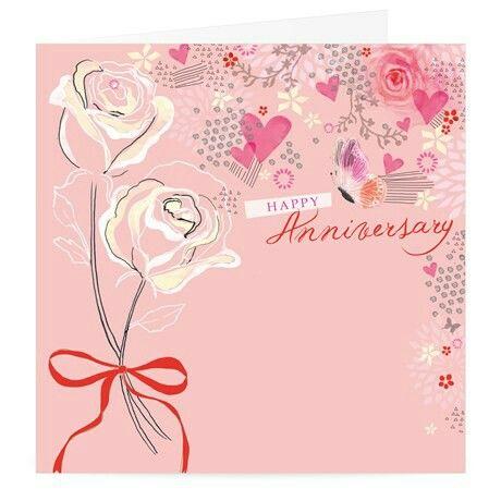 Růžové svatební přání s nápisem Happy Anniversary, růžovými srdíčky a namalovanými bílými růžemi.