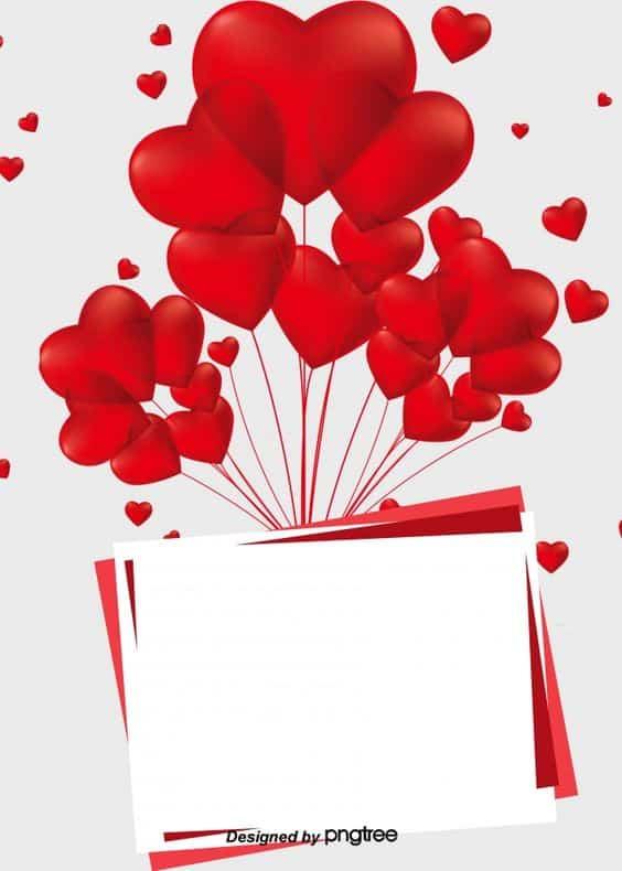 Kartička s balónky ve tvaru červených srdcí a s bílým místem k napsání přání k diamantové svatbě.