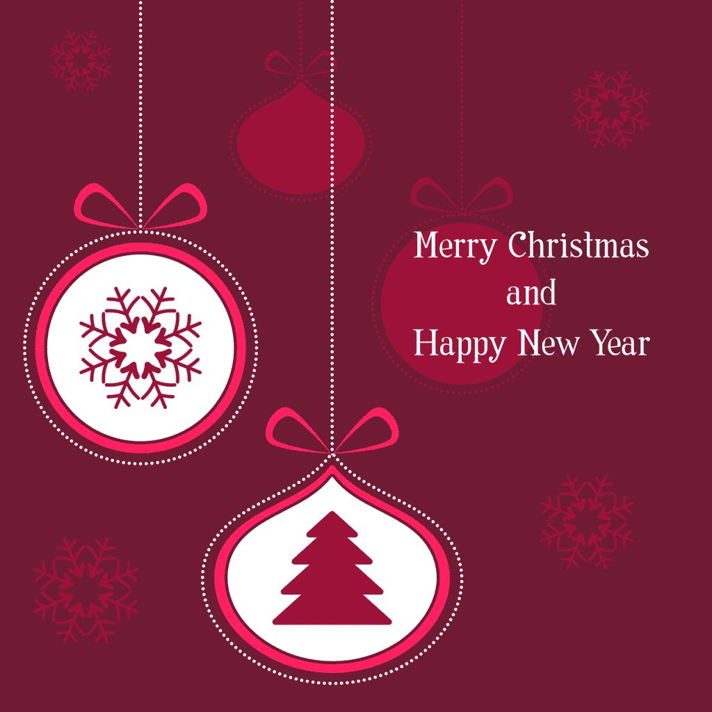 Kreslený pohled s vánočním a novoročním blahopřáním.