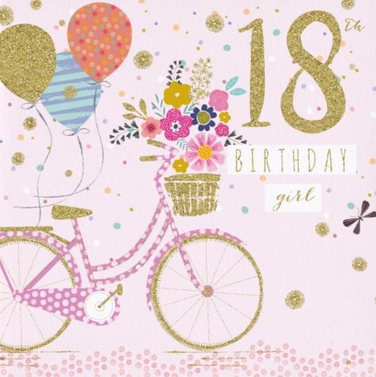 Růžové přání se zlatou barvou nakresleným kolem, balónky a číslem 18.