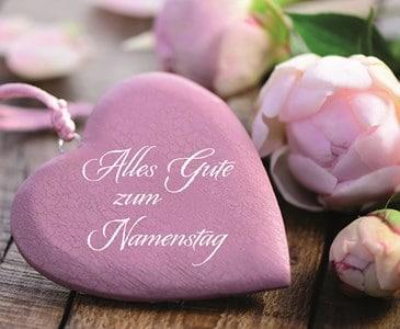 Růžové srdíčko z kamene s nápisem Namenstag.