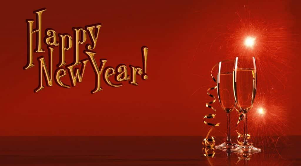 Přáníčko k novému roku s textem a šampaňským.