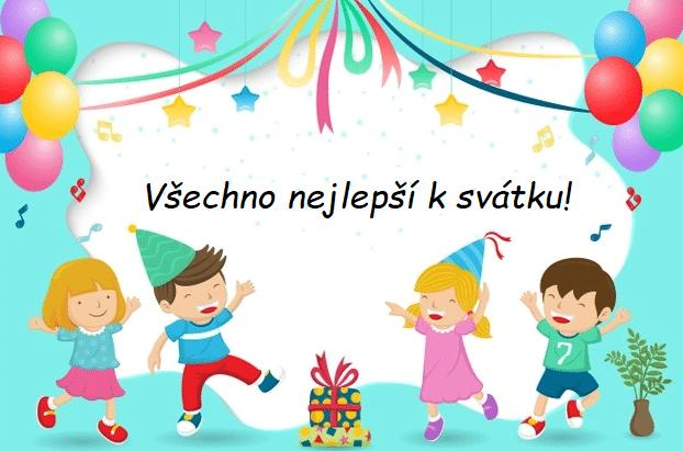 Kreslené obrázkové přání k svátku se smějícími se dětmi a přáním.