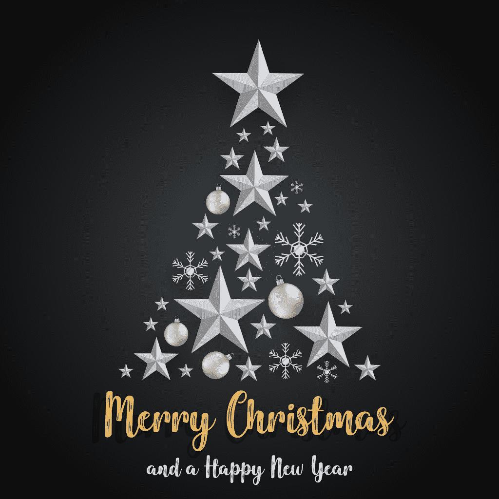 Stromek s přáníčkem veselých Vánoc a šťastného nového roku.