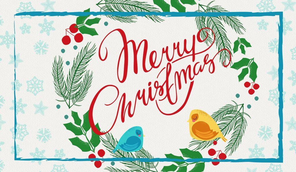 Obrázek s přáním k Vánocům.