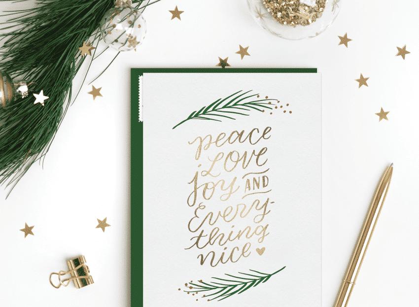 Pohlednice s vánočním textem.