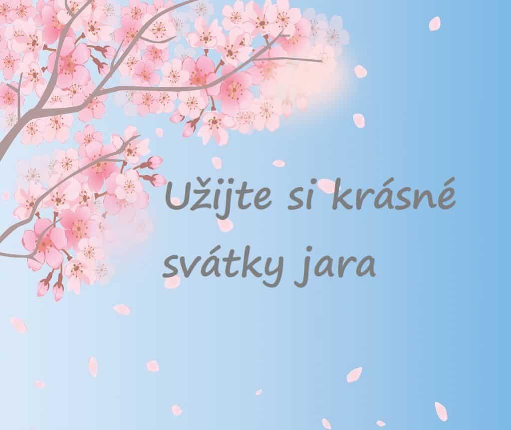Přání k svátkům jara s kvetoucím stromem.