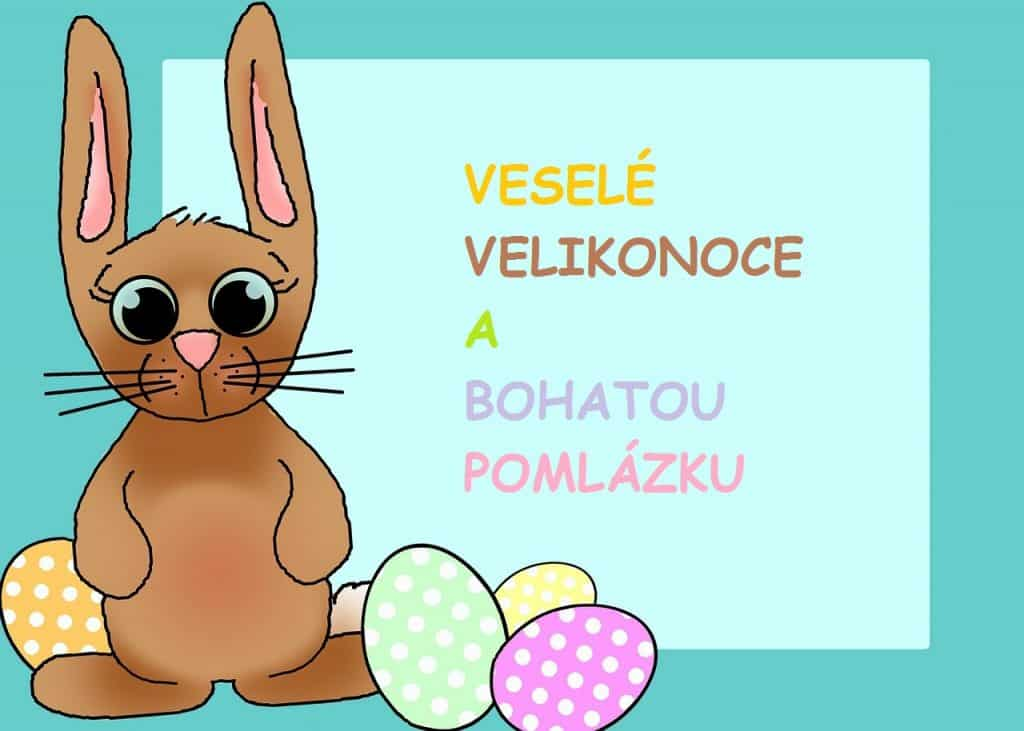 Dětské Velikonoční přání se zajíčkem.