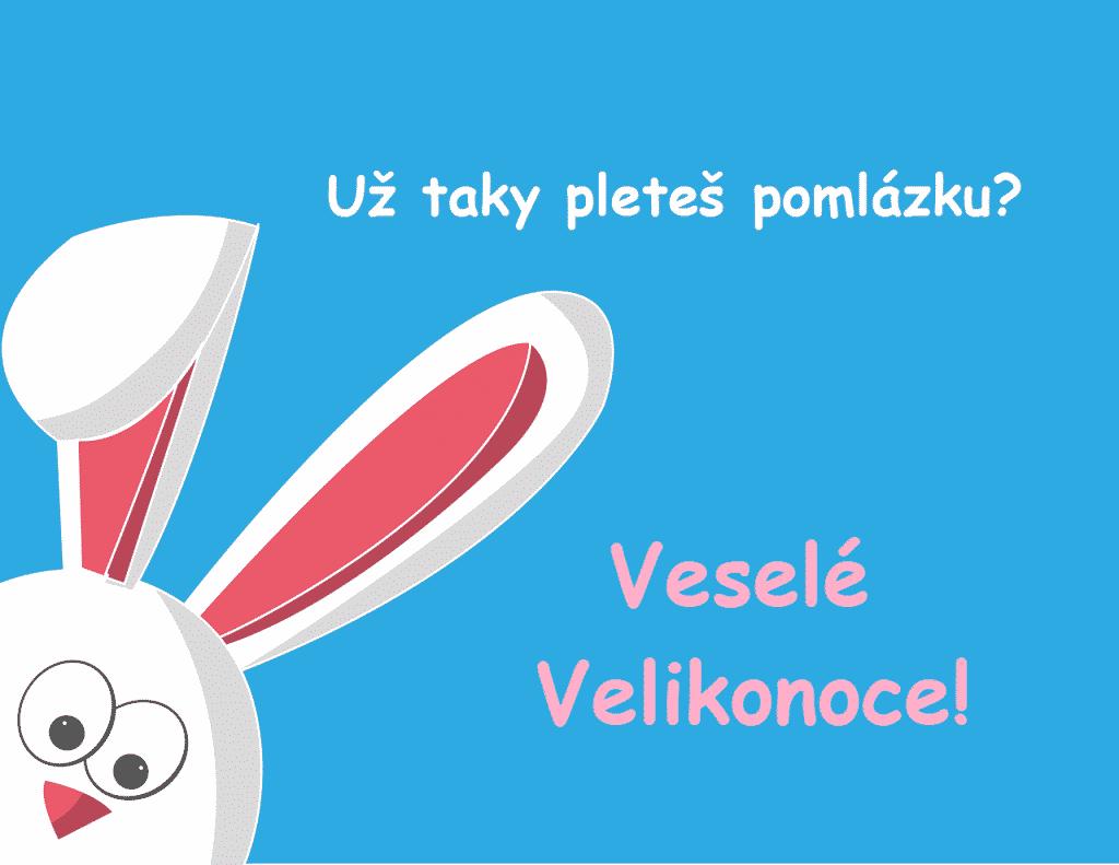Kreslené Velikonoční přání s králíkem.