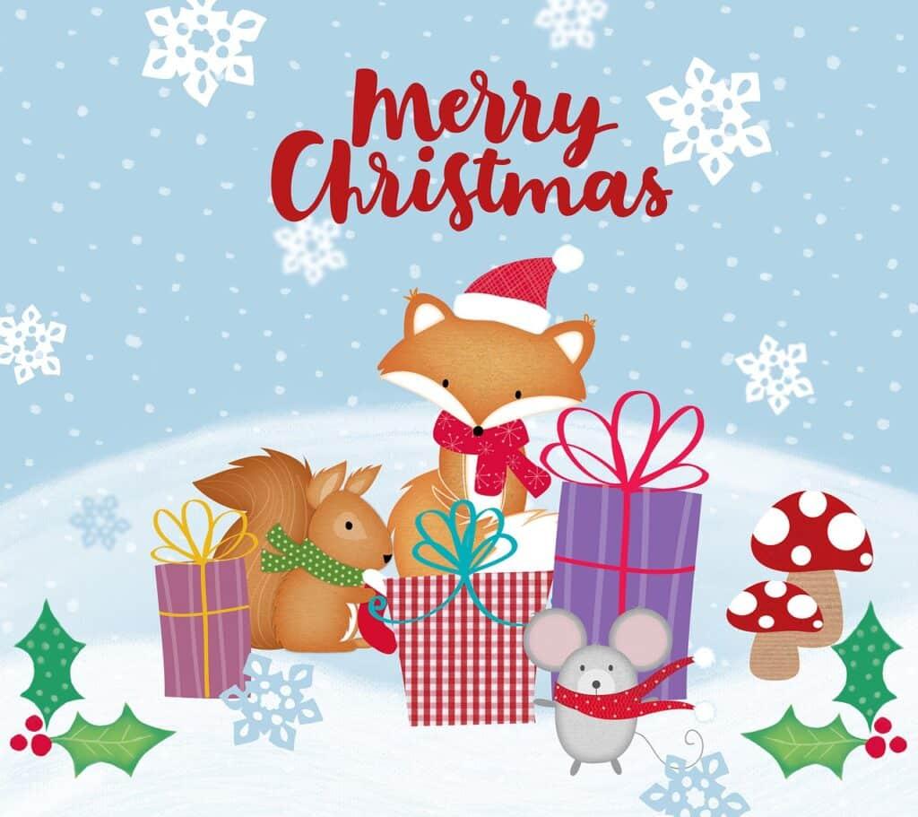 Vánoční pohlednice s liškou a zvířátky.