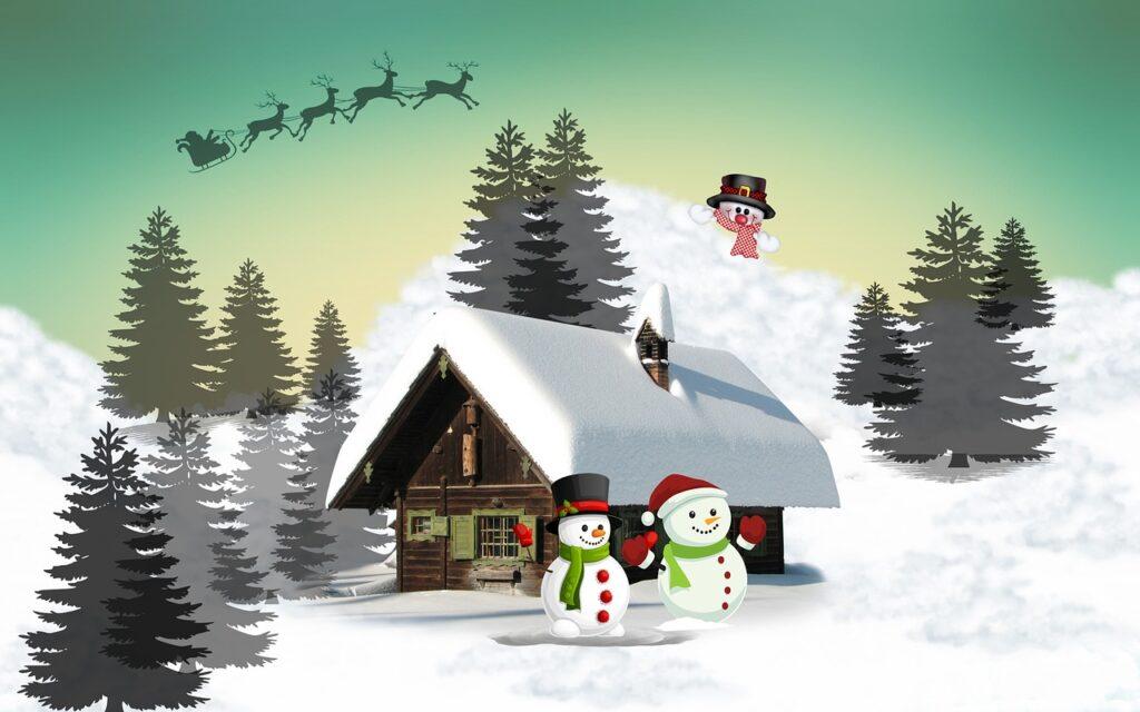 Veselý obrázek se Santou a sněhulákem.