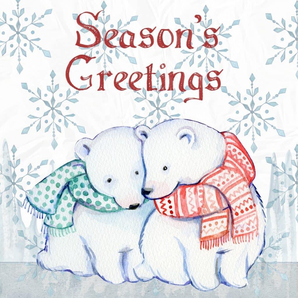 Vánoční blahopřání s medvědy.