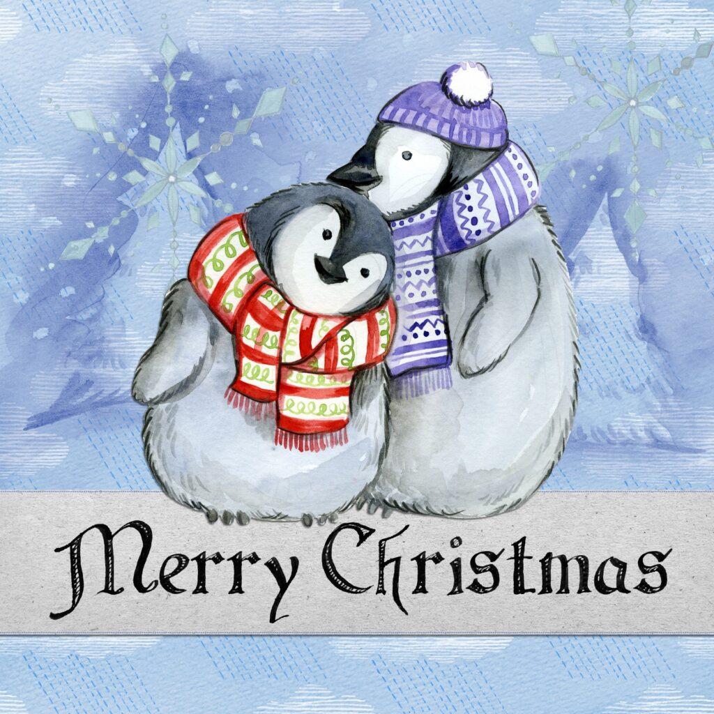 Kreslení tučňáci s přáním k Vánocům.