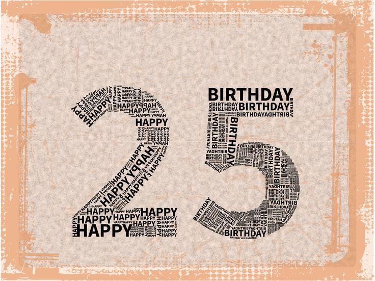Hnědé obrázkové přání k narozeninám s číslem 25 složeného z drobných slov.