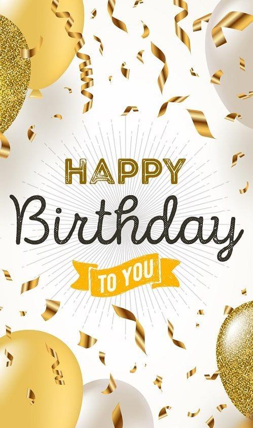 Obrázek se zlatými balónky, zlatými konfetami a narozeninovým nápisem.