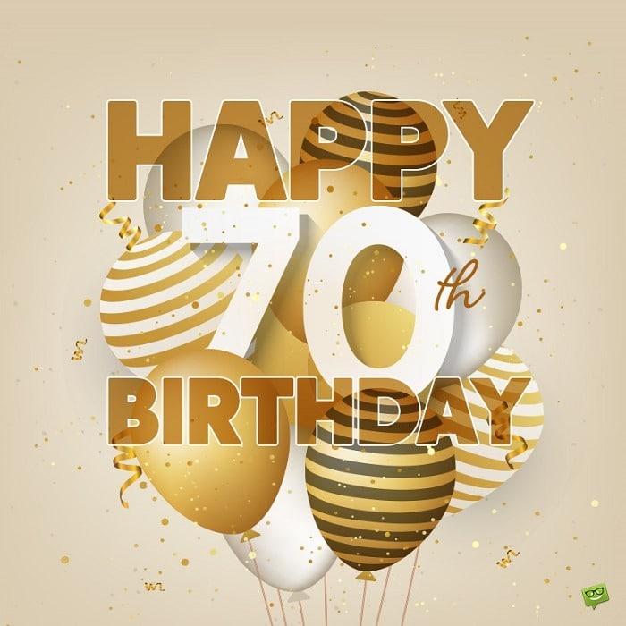 Zlaté obrázkové přání k sedmdesátým narozeninám s balónky.